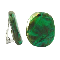 Clip-on earring olive green brown marbled