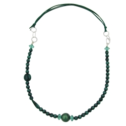 Necklace, Green/ Turquoise/ Silky, Chrome Rings