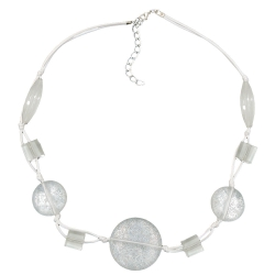 Necklace, White transparent beads, Knotted White Cord