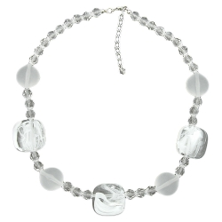 Necklace, white-transparent, 45cm