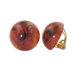 Clip-on earring round brown marbled 18mm