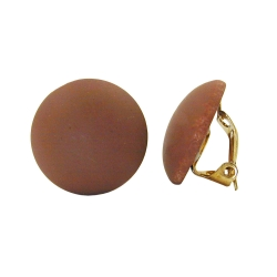 Clip-on earring round dark brown matte 18mm