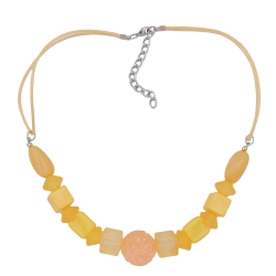 Necklace, yellow beads, yellow cord