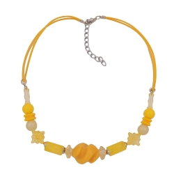 Necklace, yellow beads twisted