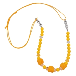 Necklace, stone-shaped beads yellow
