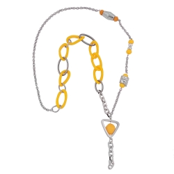 Necklace, yellow beads, chain links
