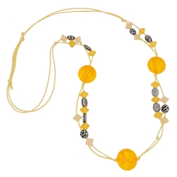 Necklace, yellow beads, patterned beads