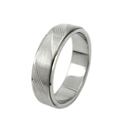 Ring, Diagonal Line Pattern, Stainless Steel