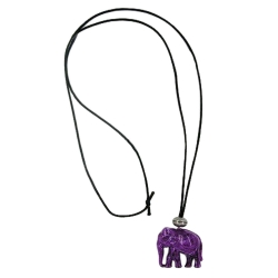 necklace, elephant, purple-marbled