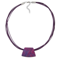 NECKLACE, TRAPEZIUM, PURPLE-PINK, 50CM