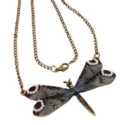 Necklace, Dragonfly, Purple/Grey/Red, Gold Coloured