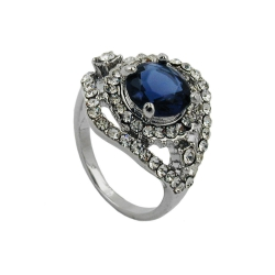 Ring blue transparent glass stone