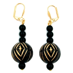 Leverback earrings oriental beading black gold coloured
