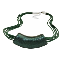 necklace, tube, flat-curved, dark-green