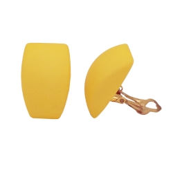 earring clip-on trapezium, yellow matt