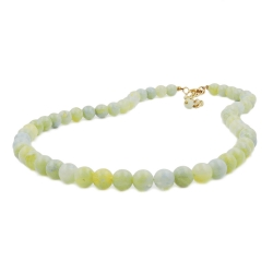 NECKLACE, BEADS 10MM, YELLOW-GREEN, 40CM