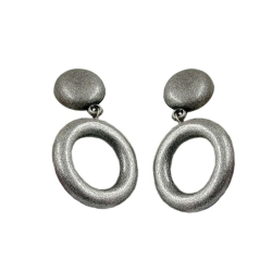 Stud earrings dangling ring blackened silver