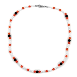 Necklace, Beads, Red/White/Black