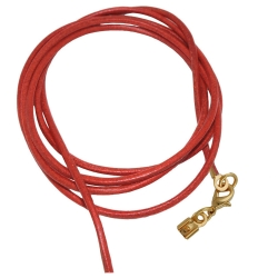 band, leather red, gold clasp, 100cm