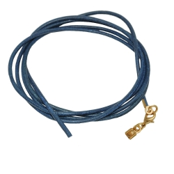 band, leather blue, gold clasp, 100cm