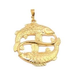 zodiac pendant, pisces, gold plated