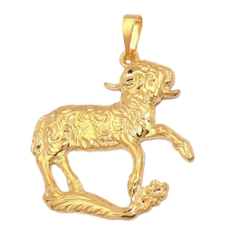 zodiac pendant, aries, gold plated