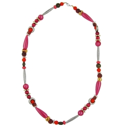 NECKLACE, BEADS, SILK-RED-BROWN, 63CM