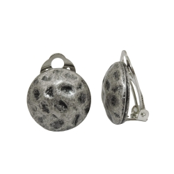 earring clip-on silver, round