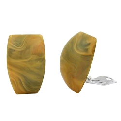 Clip-on earring trapezium khaki marbled