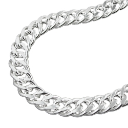 NECKLACE, DOUBLE ROMBO CHAIN, SILVER 925, 42CM