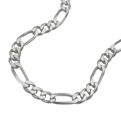 NECKLACE, FIGARO CHAIN FLAT, SILVER 925, 45CM