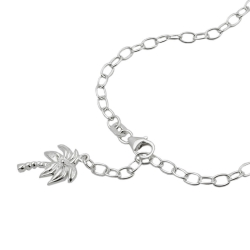 Anklet, Anchor Chain, Palm Charm, Silver 925, 25CM