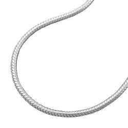 NECKLACE, ROUND SNAKE CHAIN, 1,3MM, SILVER 925, 38CM