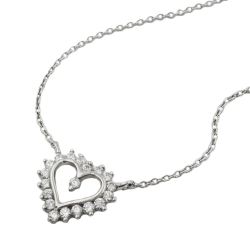 Necklace, Heart with Zirconia, Silver 925, 43CM