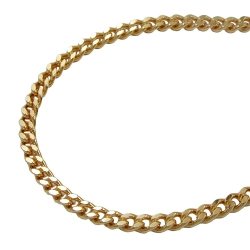 Necklace, curb chain, 2.6 mm, gold plated, 45cm