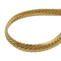 Bracelet, oval curb chain, 5 mm, gold plated, 21cm