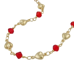 Necklace, Red Beads, Gold Plated