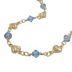 Necklace, Aqua Blue Beads, Gold Plated