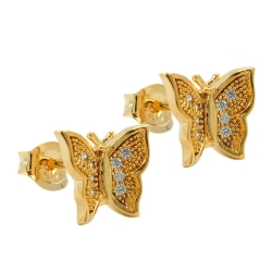Stud Earrings, Butterfly with Zirconia, 3 Micron Gold Plating