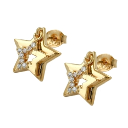 Stud Earrings, Two Stars with Zirconia, 3 Micron Gold Plating