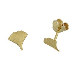 Stud earrings, ginkgo leaf, 7mm, 9K GOLD
