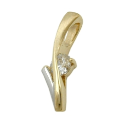 Pendant two tone zirconia 9k gold
