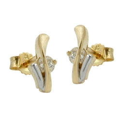 Stud earrings, two tone, with zirconias, 9K GOLD