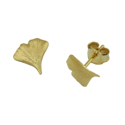EARRINGS, GINKGO LEAF, MATT, 9K GOLD