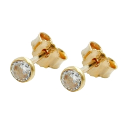 Stud earrings, small cubic zirconia, 9K GOLD