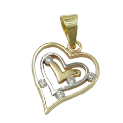 PENDANT, HEART, BICOLORED, 9K GOLD