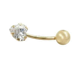 NAVEL-BELLY BAR, HEART, ZIRCONIA, 14K GOLD