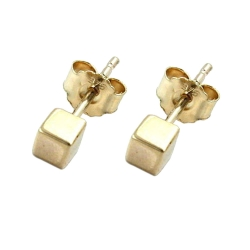 EARRINGS, 9K GOLD, SMALL CUBE