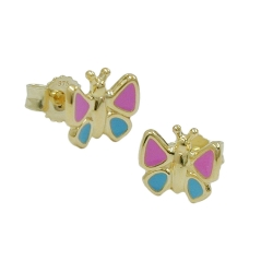 Stud earrings, butterfly, pink-blue, 9K GOLD