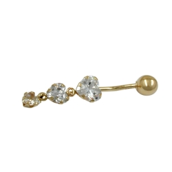 NAVEL-BELLY BAR, 3 CZ-HEARTS, 14K GOLD